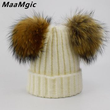 Winter Baby Knit Hat With Two Fur Pompoms Boy Girls Natural Fur Ball Beanie Kids Caps Double Real Fur Pom Pom Hat for Children