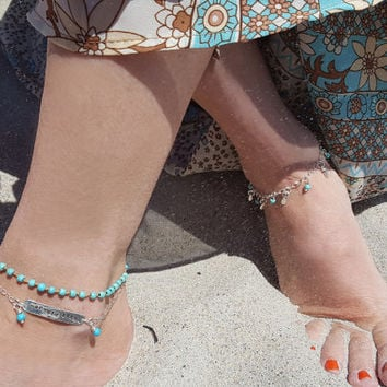 Mermaid Life Anklet Set - Sterling Silver and Turquoise Handmade Anklet Bracelet - Beach Boho - Hand Stamped Jewelry - Christina Guenther
