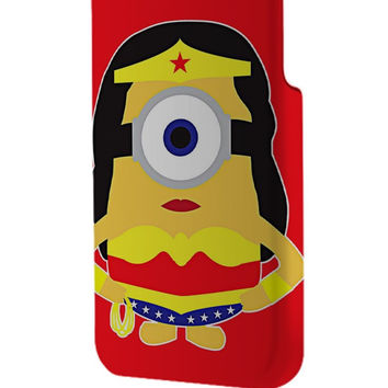 Best 3D Full Wrap Phone Case - Hard (PC) Cover with Wonder Women Minion Design