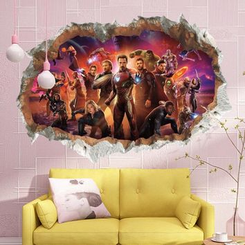 Violent The Avengers Through Wall Stickers For Kids Rooms Home Decor 3D Effect Broken Wall Decals Pvc Posters Boy's Gift
