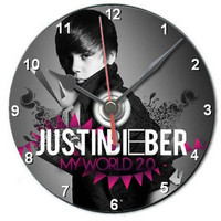 Justin Bieber cd clock gift personalised any text boxed with display stand