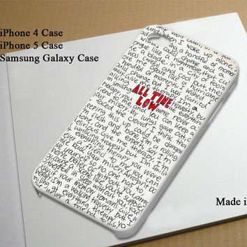 All Time Low Lyric Best Seller Phone Case on Etsy for iPhone 4, iPhone 4s, iPhone 5 , Samsung Galaxy s3 and Samsung Galaxy s4