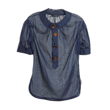 DSQUARED2 Navy Blue Sheer Cotton Top Blouse Size IT 42 US 4 6