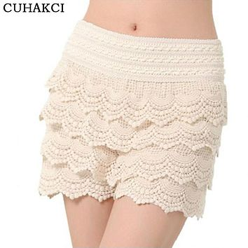 Plus Size S M L XL XXL 2016 New Summer Fashion Womens Shorts Sweet Style Lace Crochet Elastic Waist Slim Short Pants