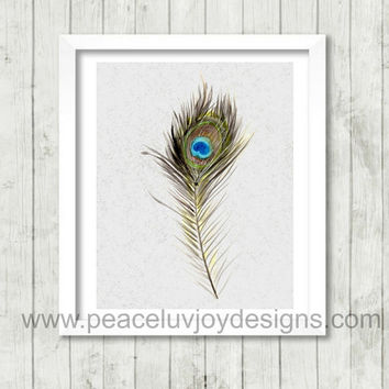 Printable Art, Feather, Peacock, 8x10, Instant Download, Light As A Feather.