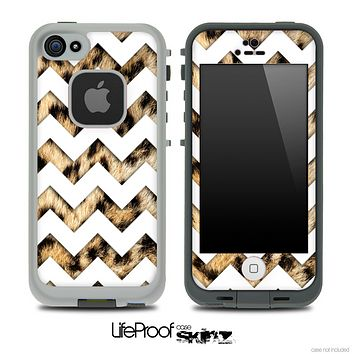 Real Cheetah Print with White Chevron Pattern Skin for the iPhone 5 or 4/4s LifeProof Case