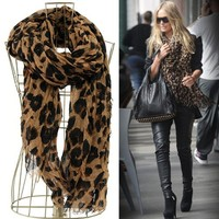 Leopard Animal Print Scarf - BROWN - Free Camel Stone Bracelet From Styleinch