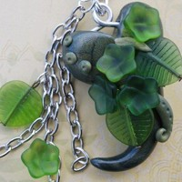 One of a kind frosted glass green garden necklace | StrangeWhimsy - Jewelry on ArtFire