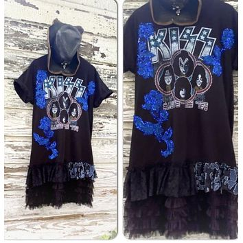 Kiss rock n roll concert tshirt dress, festival style clothing, summer concert