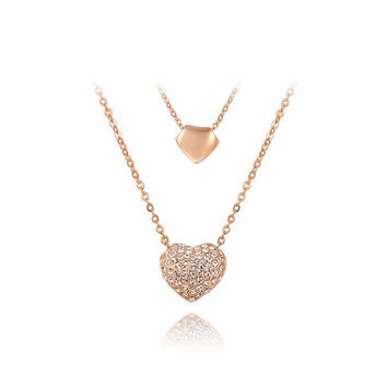 Double Heart Charm Pendant Necklace - Rose Gold/Platinum