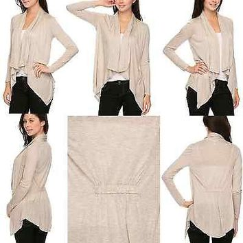 Sexy Solid Colors Plain Irregular Hem Open Knit Cardigan with Back Elastic Cinch