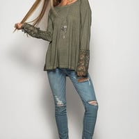 Laced Bell Sleeve Top - Olive