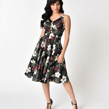Hell Bunny 1950's Style Black Floral Print Tahiti Swing Dress