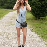 Take Him To The Cleaners Acid Washed Denim Romper - Lotus Boutique