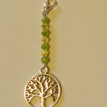 Silver Tree of Life  Zipper pull Purse Pull  Hoodie Pull   V4640