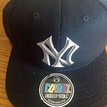 NEW YORK YANKEES MLB AMERICAN NEEDLE COLORZ SNAPBACK BLACK HAT SHIPPING!