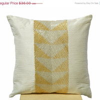 Valentine SALE Ivory white throw pillows with gilver geometric embroidery -Decorative gold silver pillow cover- Cushion cover zipper - Throw