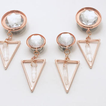 "Sizes 1/2"" to 1"" Crystal Rose Gold Dangle Plugs, Geometric Ear Plugs Quartz Dangly Gauges Dangling Formal Gauged Earrings For Brides"