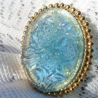 Vintage Translucent Blue Cameo Brooch - Floral Lucite and Gold