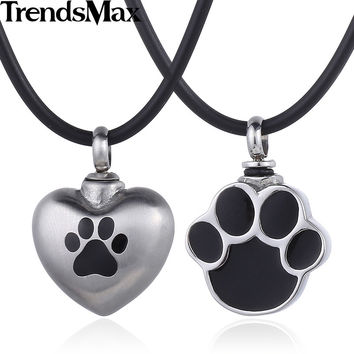 Trendsmax 316L Stainless Steel Dog Paw Pet Matting Heart Love Cremation Memorial Urn Keepsake Womens Pendant Necklace HP419