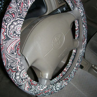 Paisley Black Red White Steering Wheel Cover