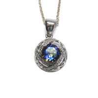 Nigerian Blue Mystic Topaz and Diamond Pendant Necklace