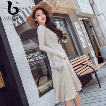 794fa0a1d53ce FINEWORDS Solid Casual Autumn Knit Dress Robe Korean Elegant Ukr