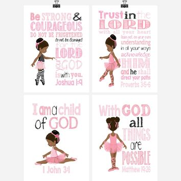 African American Ballerina Christian Nursery Decor Wall Art Set of 4 Prints - Bible Verse - Multiple Sizes