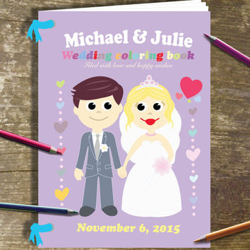 Wedding Coloring Book Printable Personalized Children's Coloring Activity Book, Wedding Party Invitation, Bride Groom JPEG file