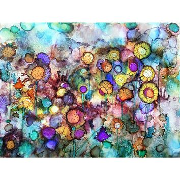 """""""Field of Flowers"""" Alcohol Ink Painting"""