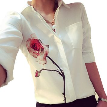 Women  Rose Flower Printed Blouses 2018 New Fashion Long Sleeve Blouse Elegant White Officwe Ladies Shirts Top Blusa Camisa #9