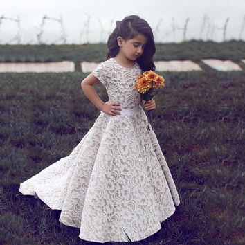 Cute O Neck Short Sleeve A Line Sash Lace Flowers Girl Dresses Little Girl Pageant Dresses