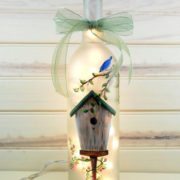 Frosted Lighted Wine Bottle Birdhouse Blue Bird Hand Painted 750ml