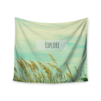 "Robin Dickinson ""Explore"" Quote Green Wall Tapestry"