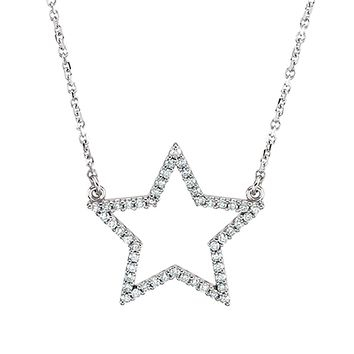 1/4 cttw Diamond Star Necklace in 14k White Gold