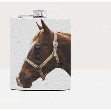 Horse Flask-Hip flask-7oz Flask-Gray-Whiskey-Gift-Alcohol-21birthday-Drinks