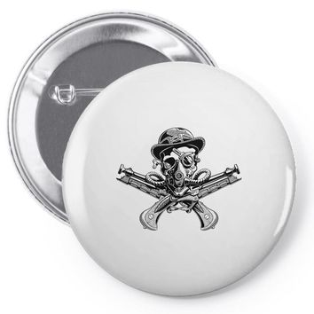 skull hat crossed pistols pirate Pin-back button