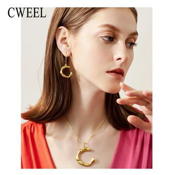 CWEEL Big Letter Jewelry Sets Women Bridal Wedding Indian Dubai Ethiopian Vintage African Beads Jewellery Necklace Earrings Set