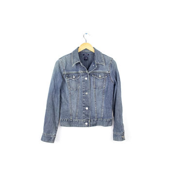 womens gap stretch denim jacket size small