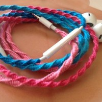 MyBuds Wrapped Tangle-Free Earbuds for iPhone | Pink & Turquoise Aqua Blue | with Microphone and Volume Control