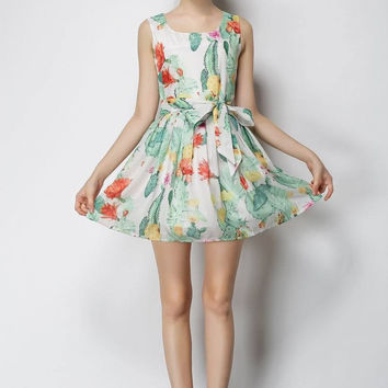 Floral Leaves Print Sleeveless Bow Belted A-Line Pleated Mini Dress