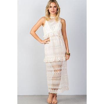 Ladies fashion bohemian crochet lace flounce ruffle maxi dress