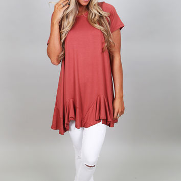 Soft & Sweet Ruffled Tunic {Rust}