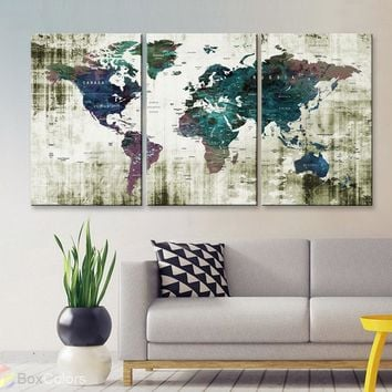 "LARGE 30""x 60"" 3panels 30x20 Ea Art Canvas Print Watercolor Old Map World Push Pin Travel Wall decor M1806"
