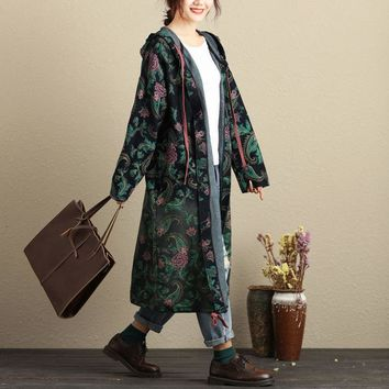 Women Autumn Spring Printed Hooded Trench Coat Outwear Ladies Plus Size Print Floral Cardigans Overcoat Long Coat Female Retro