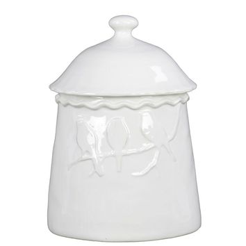 73175 Ceramic Canister With 3 Birds Relief Gloss White - White
