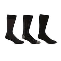 Cole Haan Dotted Pinstripe Mid-Calf Dress Socks 3-Pack - Black