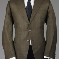 Vintage 60s Curlee Black/Brown Check Wool Blazer 46 L Monkey Suit