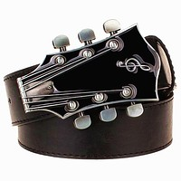 Men's Belt Metal Buckle Retro Guitar Belt