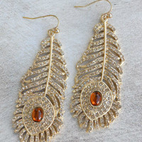 Golden Peacock Earrings [3926] - $21.00 : Vintage Inspired Clothing & Affordable Fall Frocks, deloom | Modern. Vintage. Crafted.